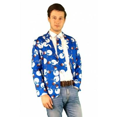 Foto van Kerst jasje met stropdas blauw