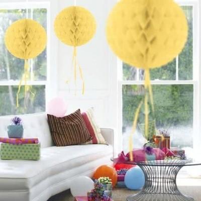 Foto van Honeycomb bal zacht Geel 30cm