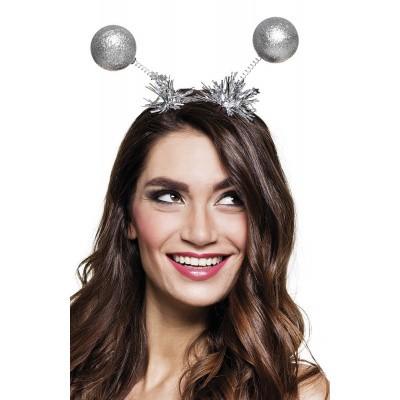 Foto van Tiara glitter ballen zilver