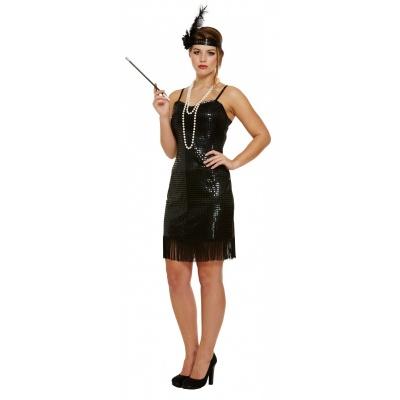 Foto van Jaren 20 jurkje met zwarte pailletten