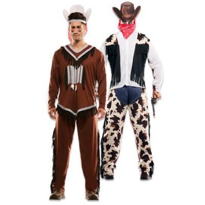 Foto van Double fun! Cowboy en indiaan kostuum