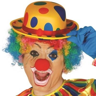 Foto van Clown bolhoed met gekleurde stippen