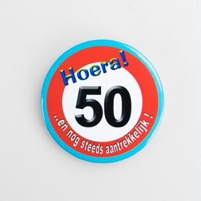 Foto van Button 50 jaar verkeersbord