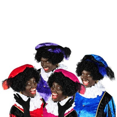 Foto van Zwarte piet baret velours met struisveer