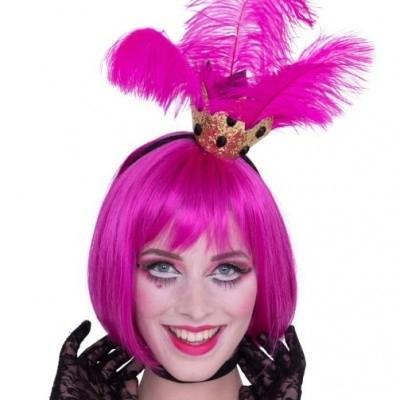 Foto van Tiara kroontje met roze veren
