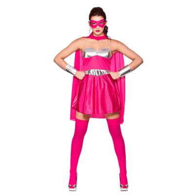 Foto van Superheldin jurkje felroze