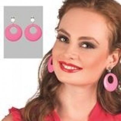 Hippie oorbellen roze