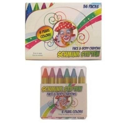 Foto van 6 kleurkrijtjes in doosje 6 pearl color (6x3 gr)