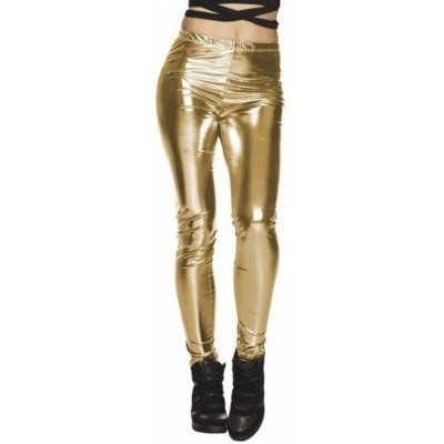 Metallic legging goud