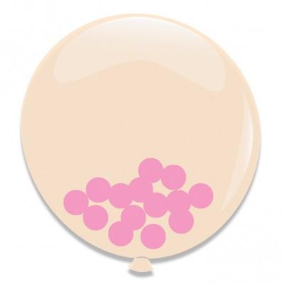 Foto van Ballonnen Roze Confetti 3st 60cm