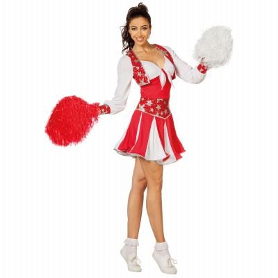 Foto van Cheerleader kostuum rood - Luxe