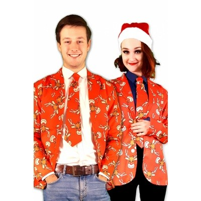 Foto van Kerst jasje met stropdas rood