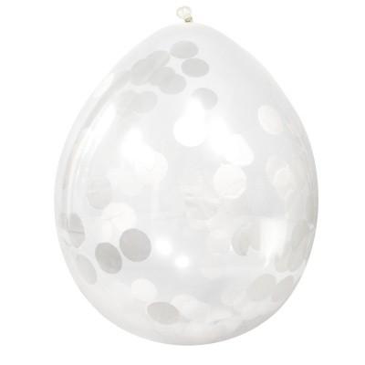 Confetti Ballonnen wit 4 st. (30 cm)