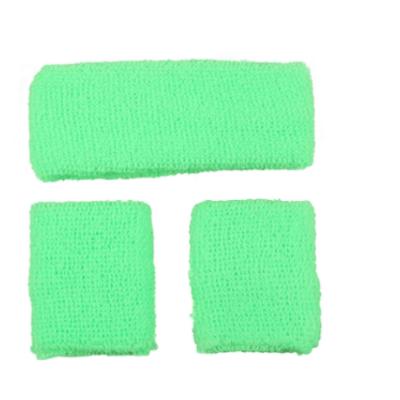 Neon zweetband hoofd en pols groen