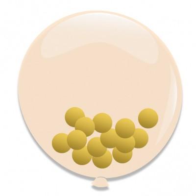 Foto van Ballonnen Goud Confetti 3st 60cm