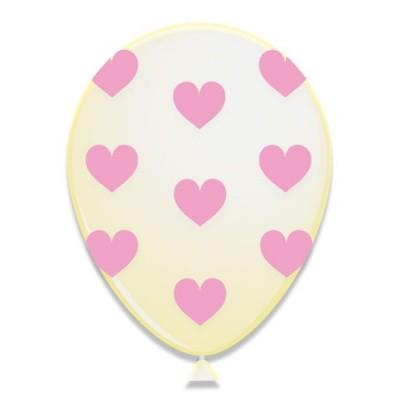 Foto van Hartjes ballonnen Roze 6 stuks 30cm