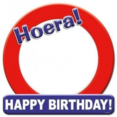 Foto van Hulde schild Happy Birthday blanco