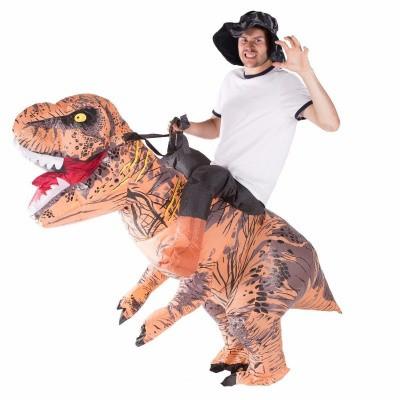 Foto van Carry me Dinosaurus opblaasbaar bruin