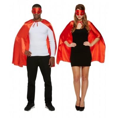 Superhelden cape met masker rood