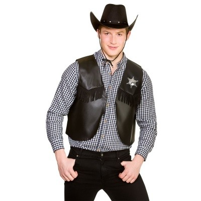 Cowboy gilet zwart met ster