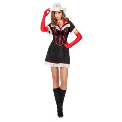 Cowgirl kostuum zwart - Luxe