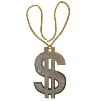 Maxi dollar teken aan ketting (24 cm/12 cm)