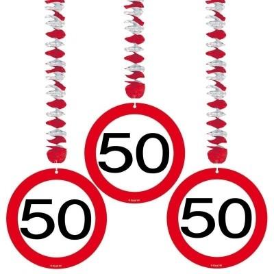 Hangdecoratie Verkeersbord 50/3st