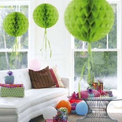 Foto van Honeycomb bal Lime Groen 30cm