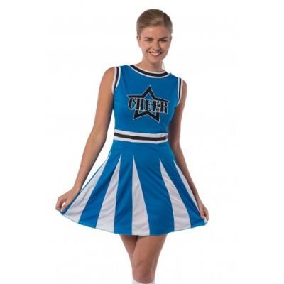 Foto van Blauw cheerleader kostuum
