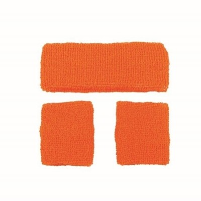 Foto van Neon zweetband hoofd en pols oranje