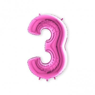 Folieballon 3 roze