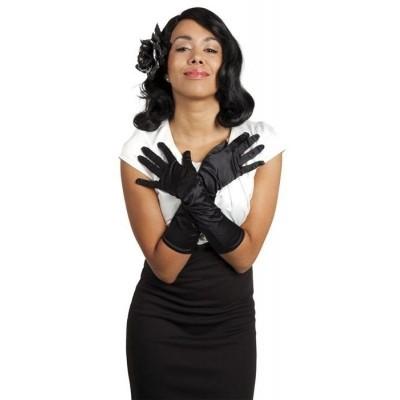 Foto van Handschoenen elleboog Monte Carlo satijn zwart