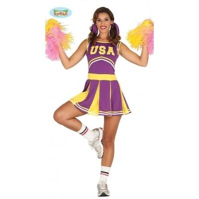 Cheerleader kostuum USA paars-geel