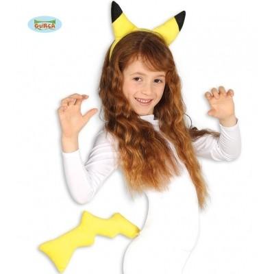 Pikachu set oren en staart