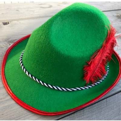 Tiroler hoed - groen met rode veer