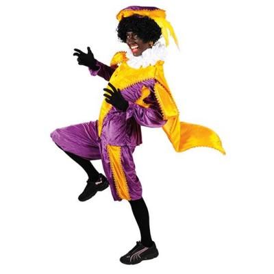 Foto van Pietenpak geel/paars met cape