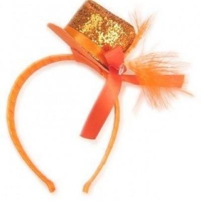 Diadeem met glitterhoedje oranje
