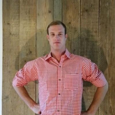 Rood wit geblokt tiroler overhemd