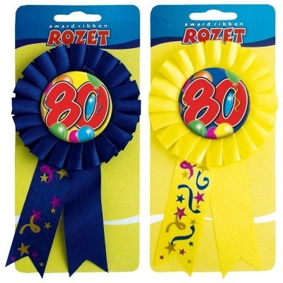 Rozet ballon 80 jaar/stk