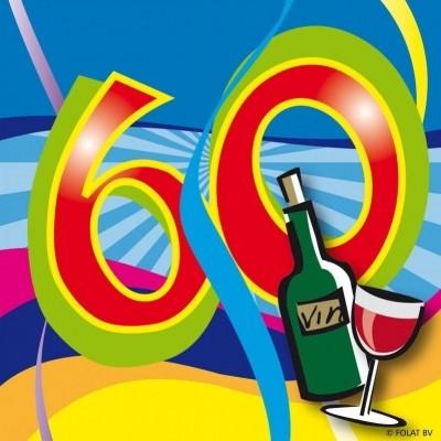 Foto van Servet 60 jaar Swirls 25x25/stk