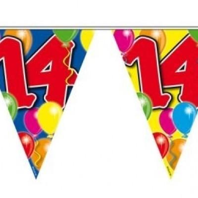Foto van Vlaggenlijn balloons 14 jaar 10M