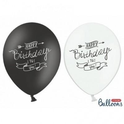 Foto van Happy Birthday ballonnen zwart wit