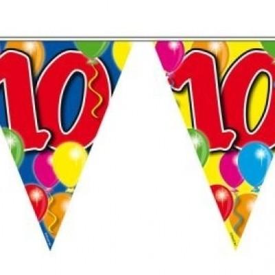 Foto van Vlaggenlijn balloons 10 jaar 10/stk