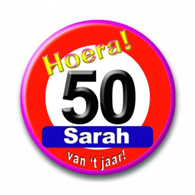 Foto van Button Sarah 50 verkeersbord
