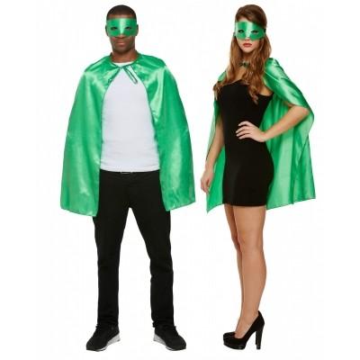 Foto van Superhelden cape met masker groen