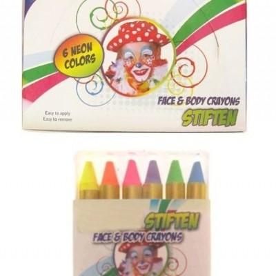PartyXplosion 6 fluor kleurkrijtjes in doosje 6 neon color (6x3 gr)