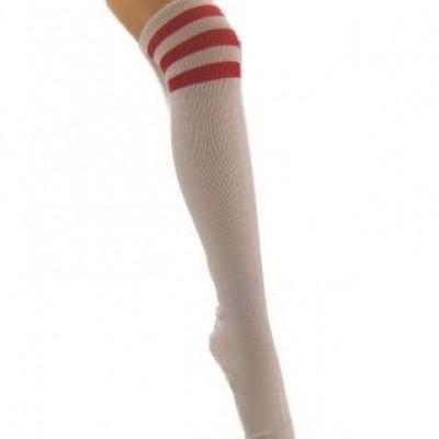 Foto van Kousen wit met 3 rode strepen