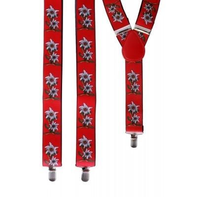 Foto van Tiroler bretels met bloemen rood