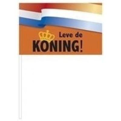 Foto van St. Papieren zwaaivlaggetje 'Leve de koning!' (37 cm)