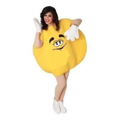 Foto van M&M pak geel volwassen kostuum